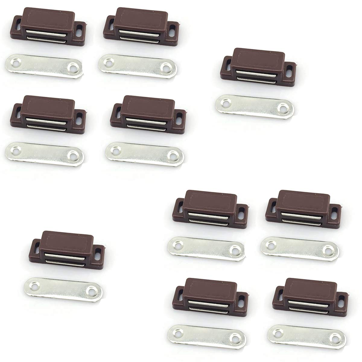 Rannb Magnetic Cabinet Catch Latch with Strike for Cupboard Cabinet Drawer Door-Pack of 10 (Brown)