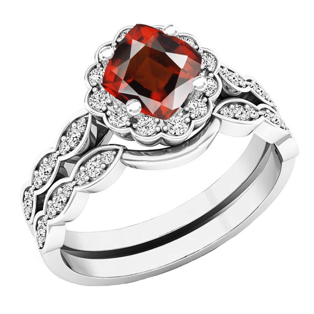 14K White Gold 5.5 MM Cushion Garnet & Round Diamond Ladies Halo Engagement Ring Set (Size 8)