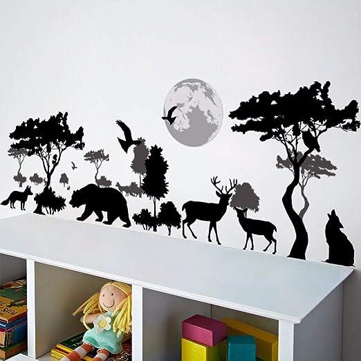 Dibujos animados animal ciervo pájaro lobo bosque zoológico árbol ...
