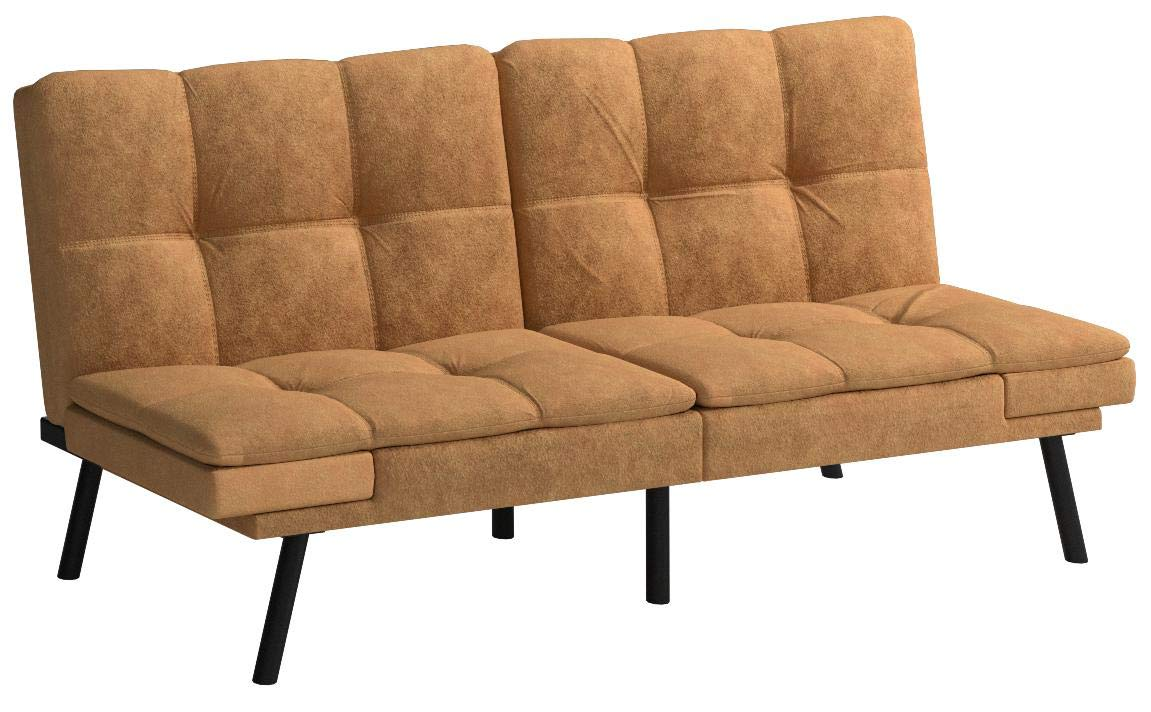 Mainstay' Wooden Frame Memory Foam Split seat and Back Futon in Camel Fabric (Futon (Futon, Camel) by Mainstay'