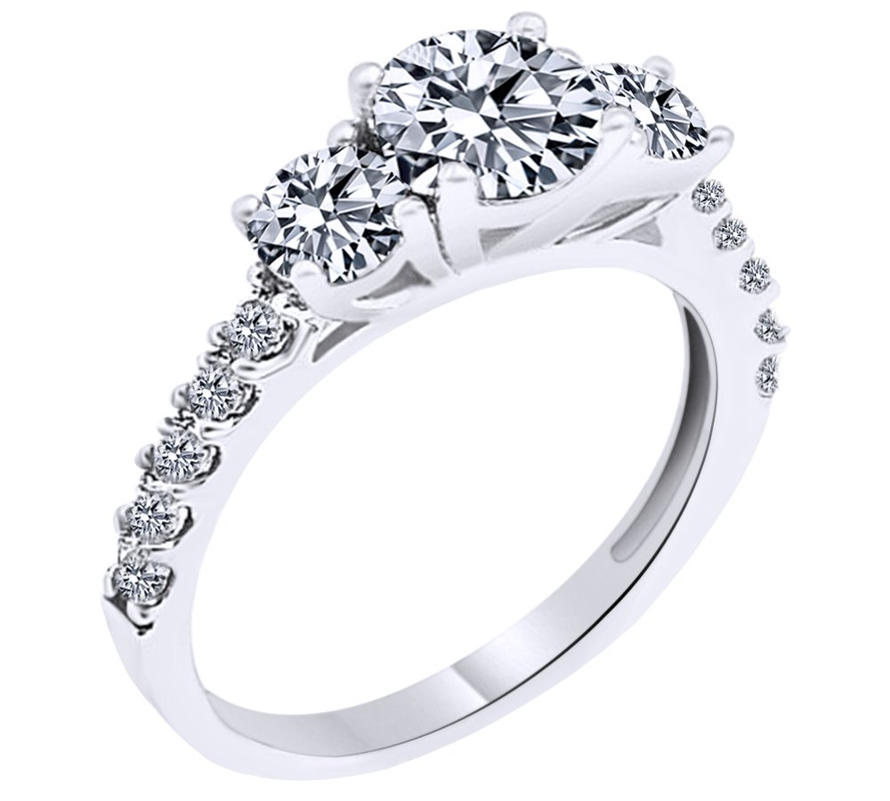 White Cubic Zirconia Three Stone Ring In 14k Solid White Gold Ring Size - 14
