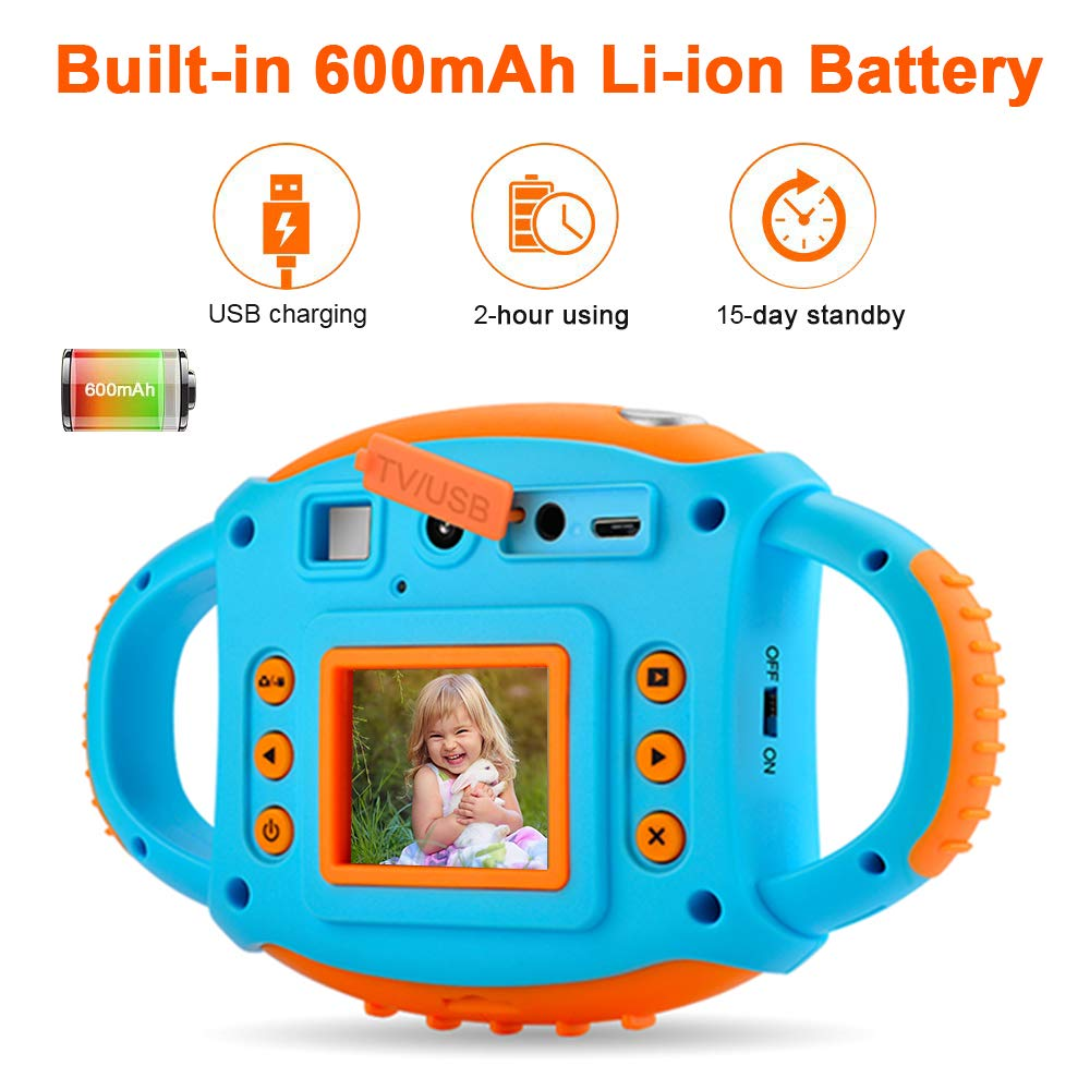 Kids Camera DIWUER Shockproof Digital Camera Children Creative Gift Mini Video Camcorder for Boys Girls with Soft Silicone Shell Mic Flash and 16GB Memory Card by DIWUER (Image #3)
