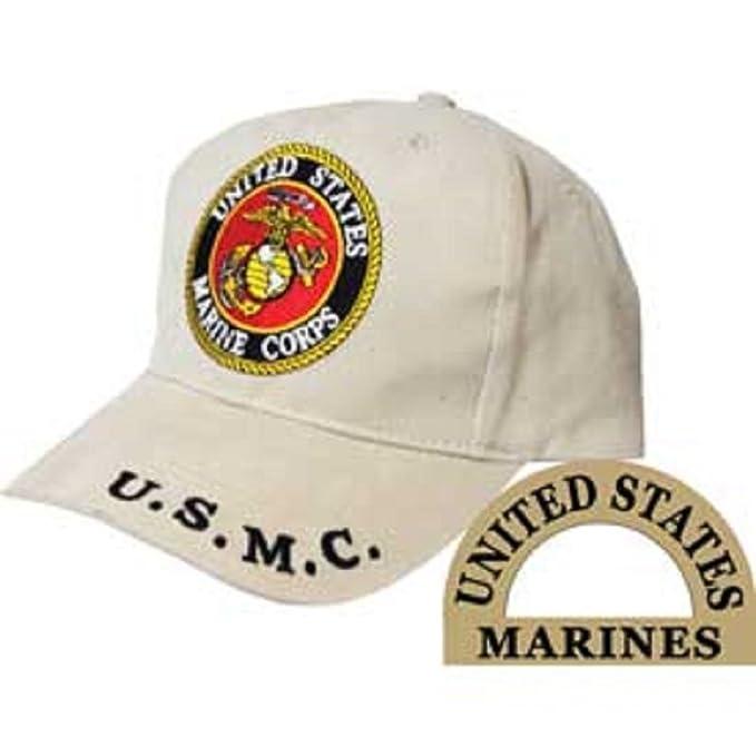 K's Novelties Marines Marine Corps EGA USMC Emblem Khaki Tan Embroidered  Cap Hat Adjustable