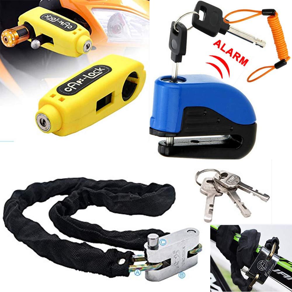 Maso Alarm Disc Brake Lock + Motorcycle Handlebar Lock + Motorbike Heavy Duty Padlock Anti-Theft Security Lock Set + 1.5m Reminder Cable (Set A) by Maso