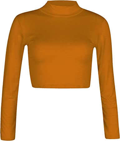 Nuevo para mujer Polo cuello alto manga larga liso básico Top ...