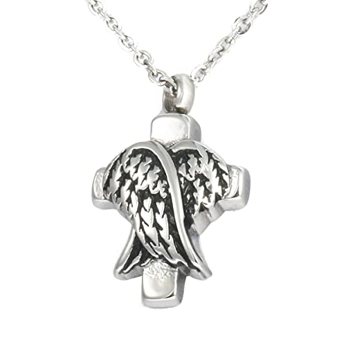 HooAMI Ancient Silver Stainless Steel Angel Wing Memorial Urn Cremation Jewellery- Ashes Keepsake Pendant Necklace ibFfXEvr