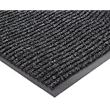 """NoTrax 117 Heritage Rib Entrance Mat, for Lobbies and Indoor Entranceways, 3' Width x 6' Length x 3/8"""" Thickness, Charcoal"""