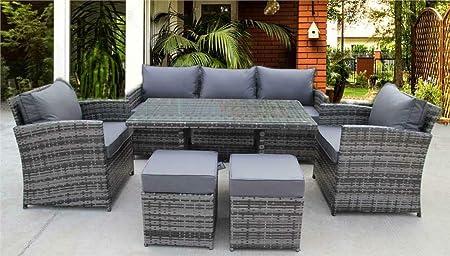 Uk Leisure World New Rattan Wicker Conservatory Outdoor Garden Furniture Dining Set Corner Sofa Table Grey Amazon Co Uk Garden Outdoors