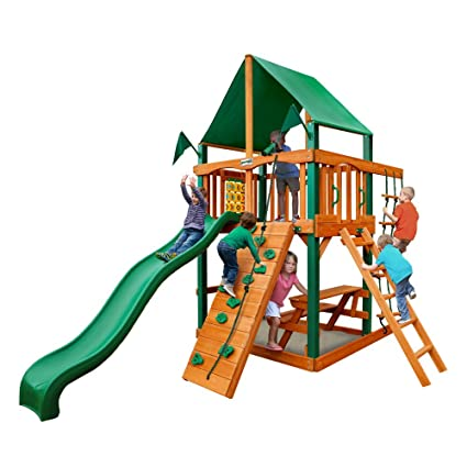 Gorilla Playsets Chateau Tower With Deluxe Green Vinyl Canopy Swing Set