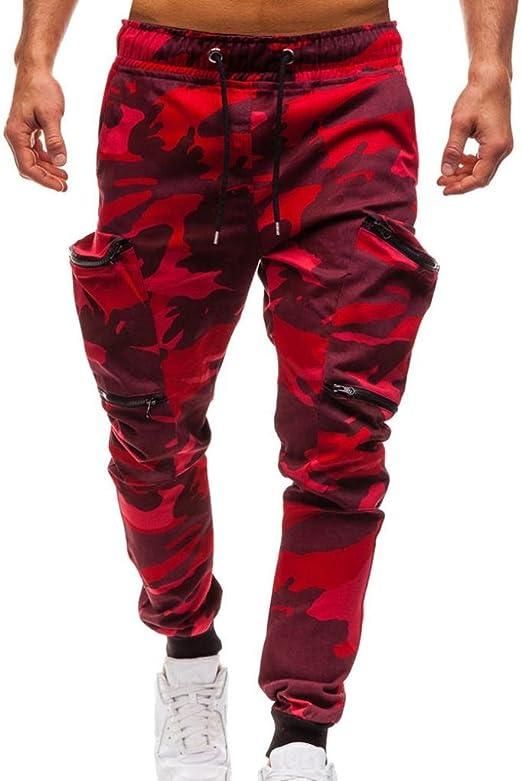 SELX Men Classic High Waist Drawstring Camo Zipper Pockets Sport Sweat Pants
