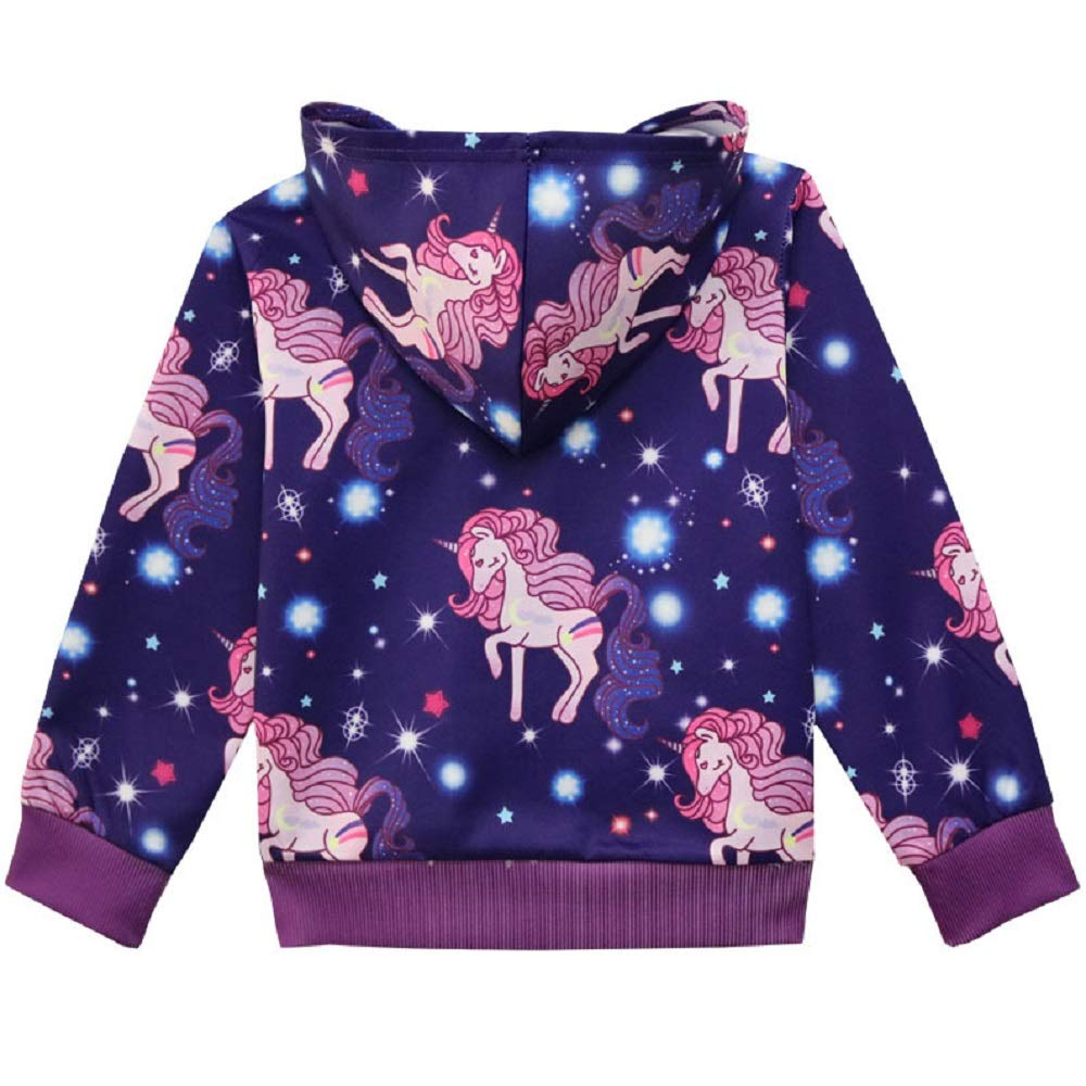 Wazonton Girls Hoodie Zip Up Jackets Casual Sweatshirt with Pocket for Little Girls