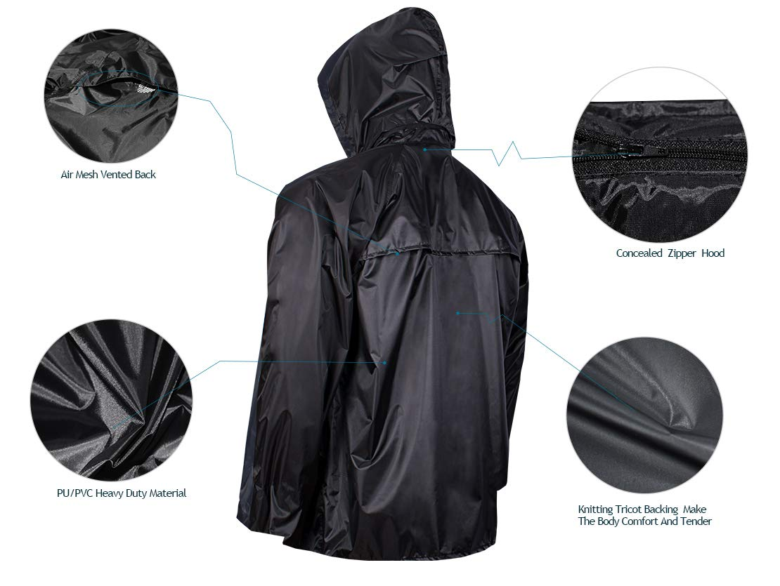 Rain Jacket with Pants for Men Women Waterproof Rain Coat 3-Pieces Ultra-Lite Suits (Large, Black) by FWG (Image #5)