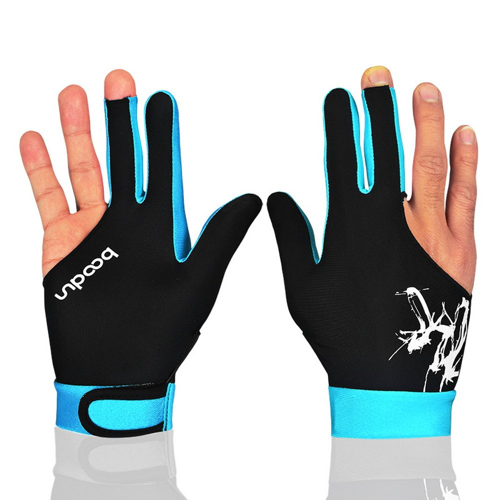Sky Blue, L Wear on the Right or Left Hand 1PCS Anser M050912 Man Woman Elastic Lycra 3 Fingers Show Gloves for Billiard Shooters Carom Pool Snooker Cue Sport