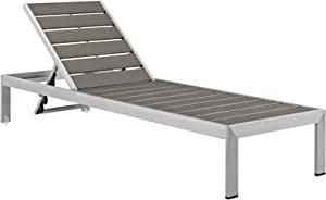 Modway Shore Aluminum Outdoor Patio Chaise Lounge Chair in Silver Gray