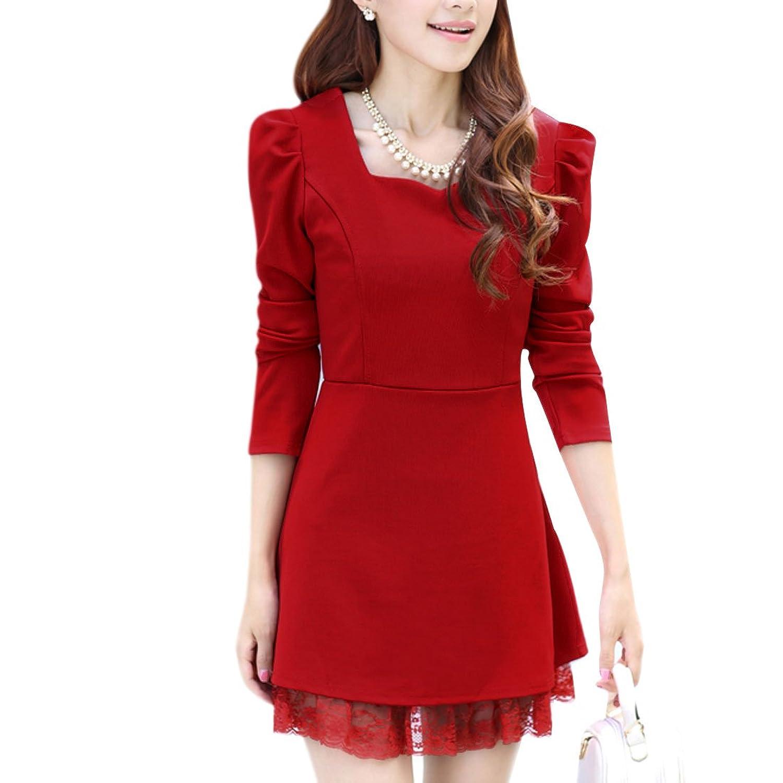 Ladies Square Neck Zip Up Puff Sleeve Lace Splice Hem Slim Fit Dress