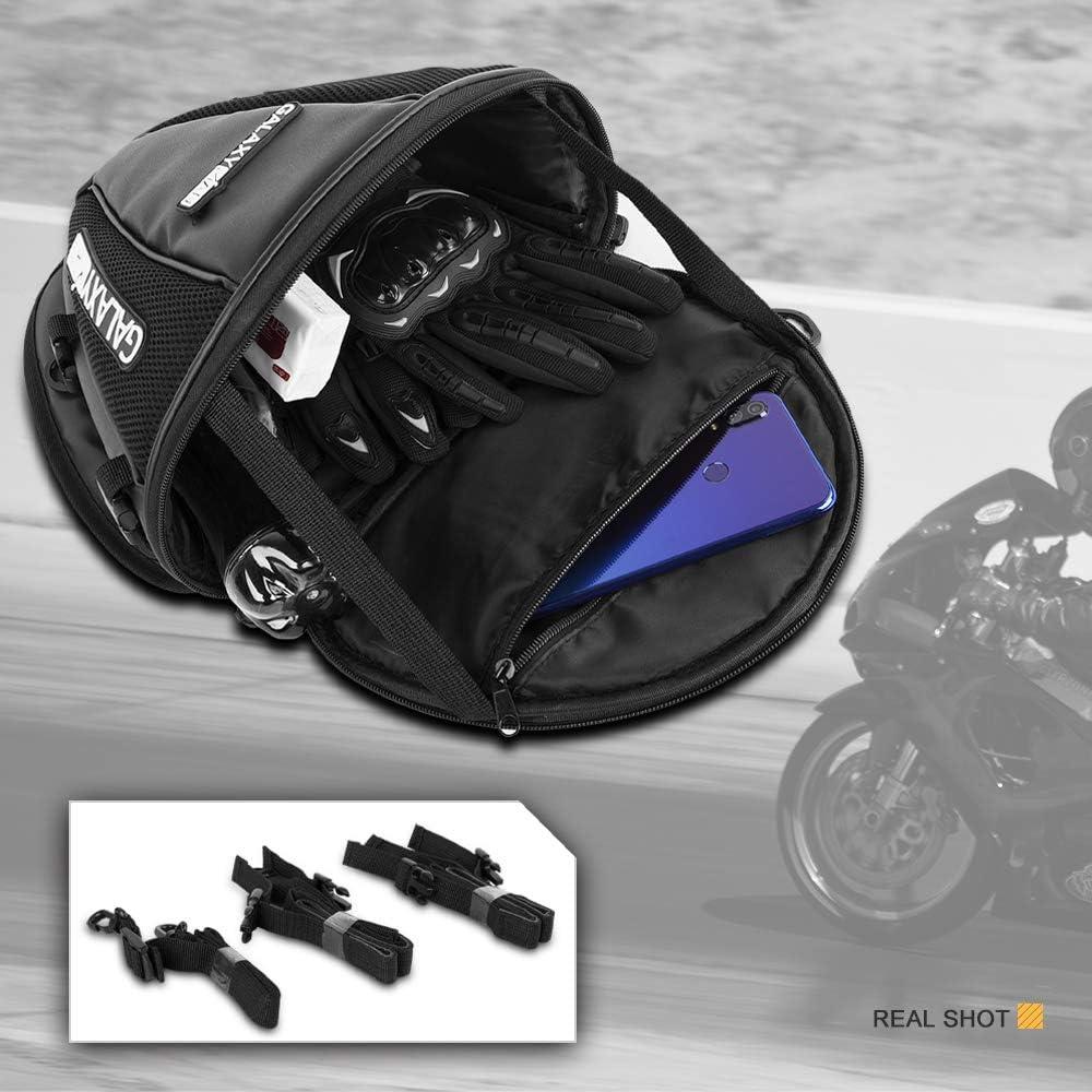 Galaxyman Motorcycle Tail Bag PU Leather Multifunctional Waterproof Motorbike Seatback Tool Bag Storage Saddle Bag Carry Bag,1.5L
