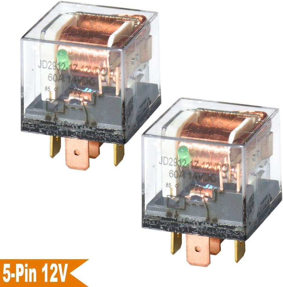 Ehdis DC 12V 60A 1NO SPDT Cargador de 5 Pines Cargador de Carga Pesada Cargador de Carga Transparente, Paquete de 2