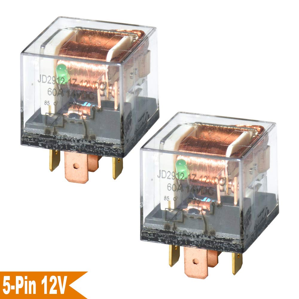 Ehdis DC 12V 60A 1NO SPDT 5 broches Relay Car Heavy Duty Split Charge impermé able Etui transparent, paquet de 2