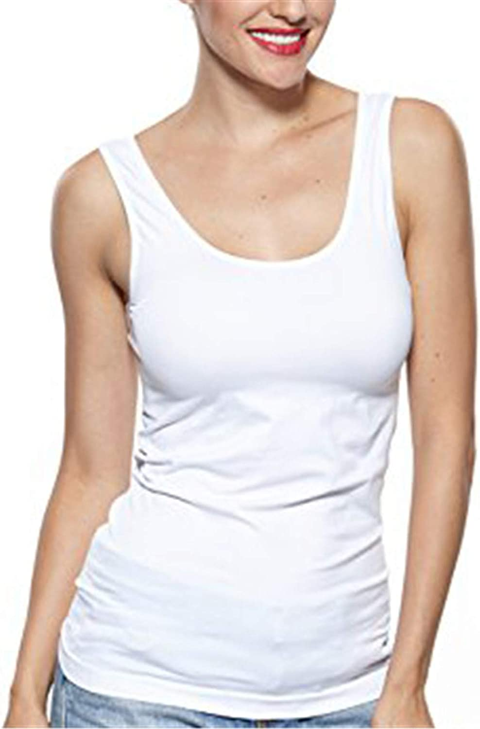 Khaya Womens Camisole Cami Tank Compression Seamless Yoga Sports Wide Strap Top