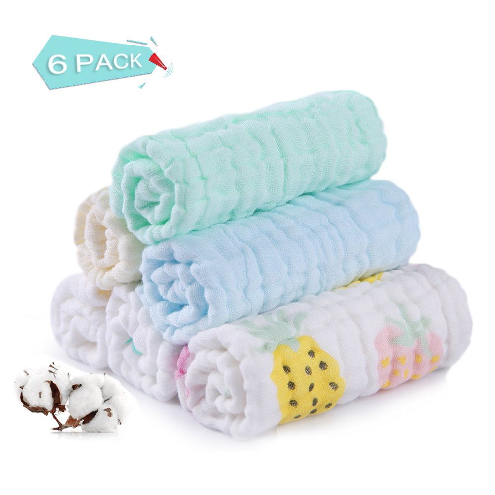 6pcs/Set Baby Washcloths, YouN Soft Cartoon Baby Children Absorbent Cotton Feeding Saliva Towel/Shower Towels for Newborn Baby Girls Boys