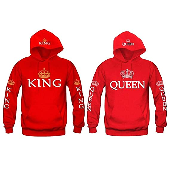 Hioplo Unisex Couple Casual Sweatshirt Pullover Hoodie Long Sleeve King & Queen Print Sweater at Amazon Womens Clothing store:
