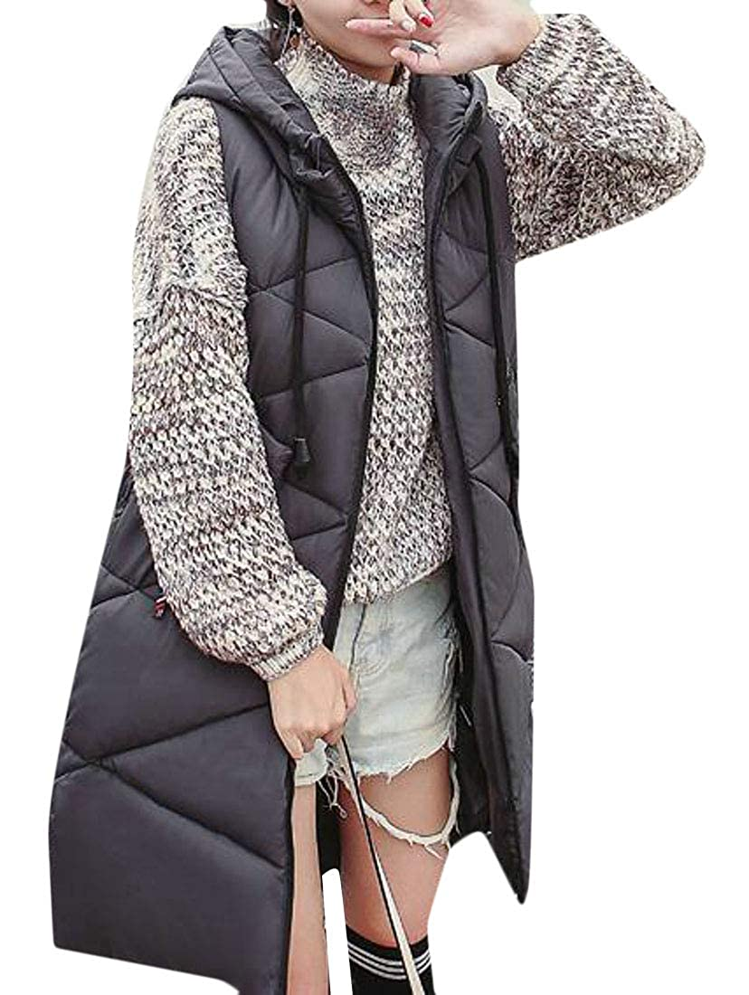 Lutratocro Women Hooded Outerwear Zip Quilted Down Coat Winter Mid-Long Vest