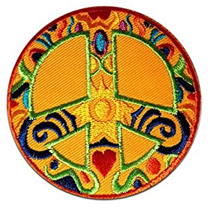 Patrones Naranja Corazón Paz del símbolo de Sun Patch '7.5 x 7.5 cm' - Parche Parches Termoadhesivos Parche Bordado Parches Bordados Parches Para La Ropa Parches La Ropa Termoadhesivo Apliques Iron on Patch Iron-On Apliques