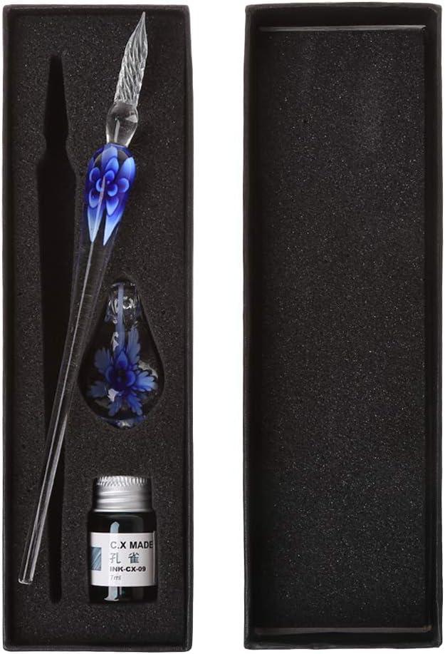 Cher9 Vintage Handmade Art Elegant Crystal Floral Glass Dip Pen Sign Ink Pens Gift