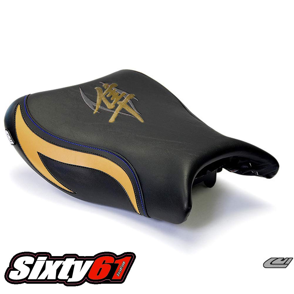 Gold and Blue Stitching Luimoto Seat Covers for Suzuki Hayabusa 2008-2017 Black Front Rear by Sixty61