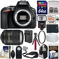 Nikon D5600 Wi-Fi Digital SLR Camera Body with 18-300mm VR Lens + 64GB Card + Case + Flash + Battery & Charger + Tripod + Filter Kit
