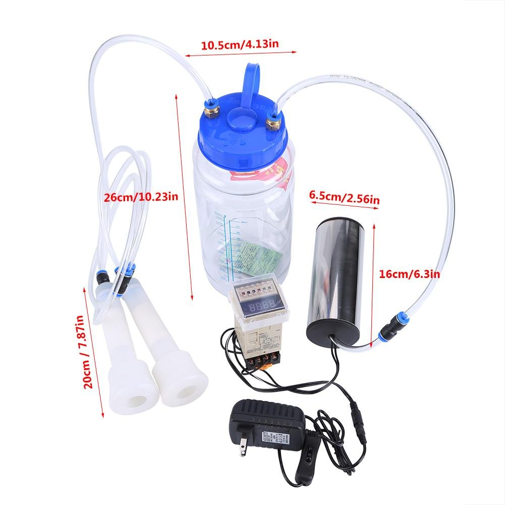 2L Portable Milking Machine, Electric Milker Machine with Pulse Controller for Cow Sheep