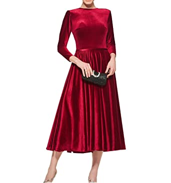 Womens Velvet 3/4 Sleeves Mother of The Bride Dress Simple A-line Party
