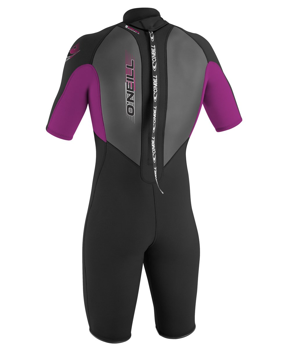 O'Neill Youth Reactor 2mm Back Zip Spring Wetsuit, Black/Pink/Black, 6 by O'Neill Wetsuits (Image #3)
