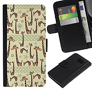 iKiki Tech / Cartera Funda Carcasa - Beige Cartoon Animal Drawing - Samsung Galaxy S6 SM-G920