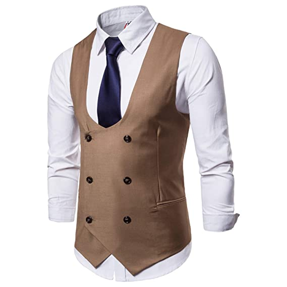 Amazon.com: HSLS - Chaleco formal para hombre con doble ...