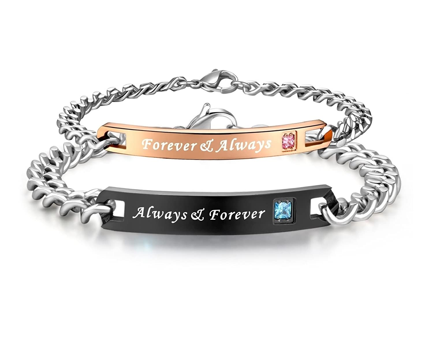 c41f725c24 Aegean Jewelry Always & Forever Bracelets Stainless Steel Matching Set  Chain Bracelet for Couple, with a Gift Box