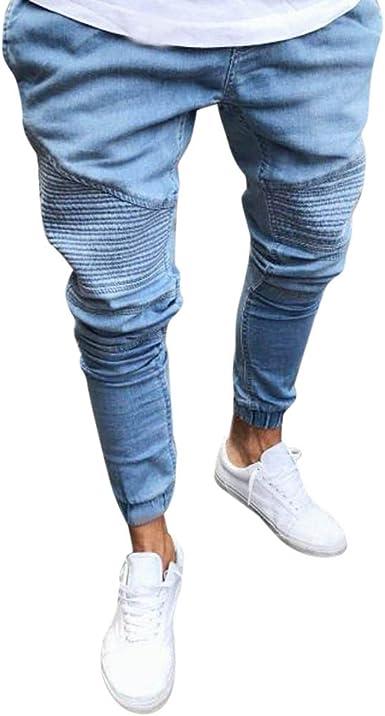 Fhuuly La Mode Jeans Slim en Denim Extensible pour Hommes Droits Tout Droit Pantalons Skinny