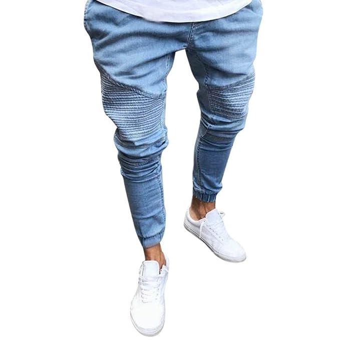 VonVonCo Hombre Pantalones Chandal Anchos Pantalones EláSticos Ajustados De  Mezclilla De Los Hombres Pantalones Rectos Largos Ocasionales Vaqueros  Pitillo  ... 056f5a7a1828