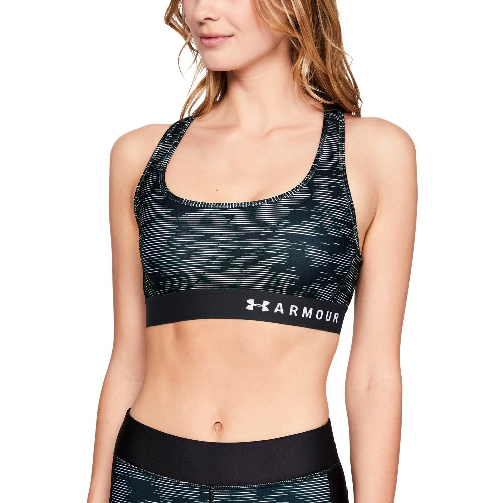 Under Armour Women's Armour Mid Crossback Print Sports Bra, Black (012)/Black, X-Small