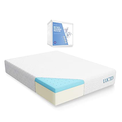 Amazoncom Lucid 10 Inch Gel Memory Foam Mattress With Lucid