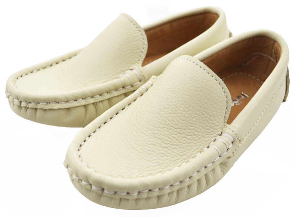 IDIFU Boy's Girl's Unisex Leather Slip On Loafers Low Top Breathable Flat Boat Shoes Beige 6 M US Toddler