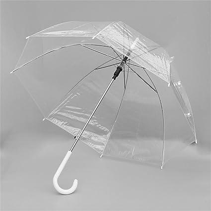Paraguas transparente de mujer con mango largo Semi-automático para niña de poliéster