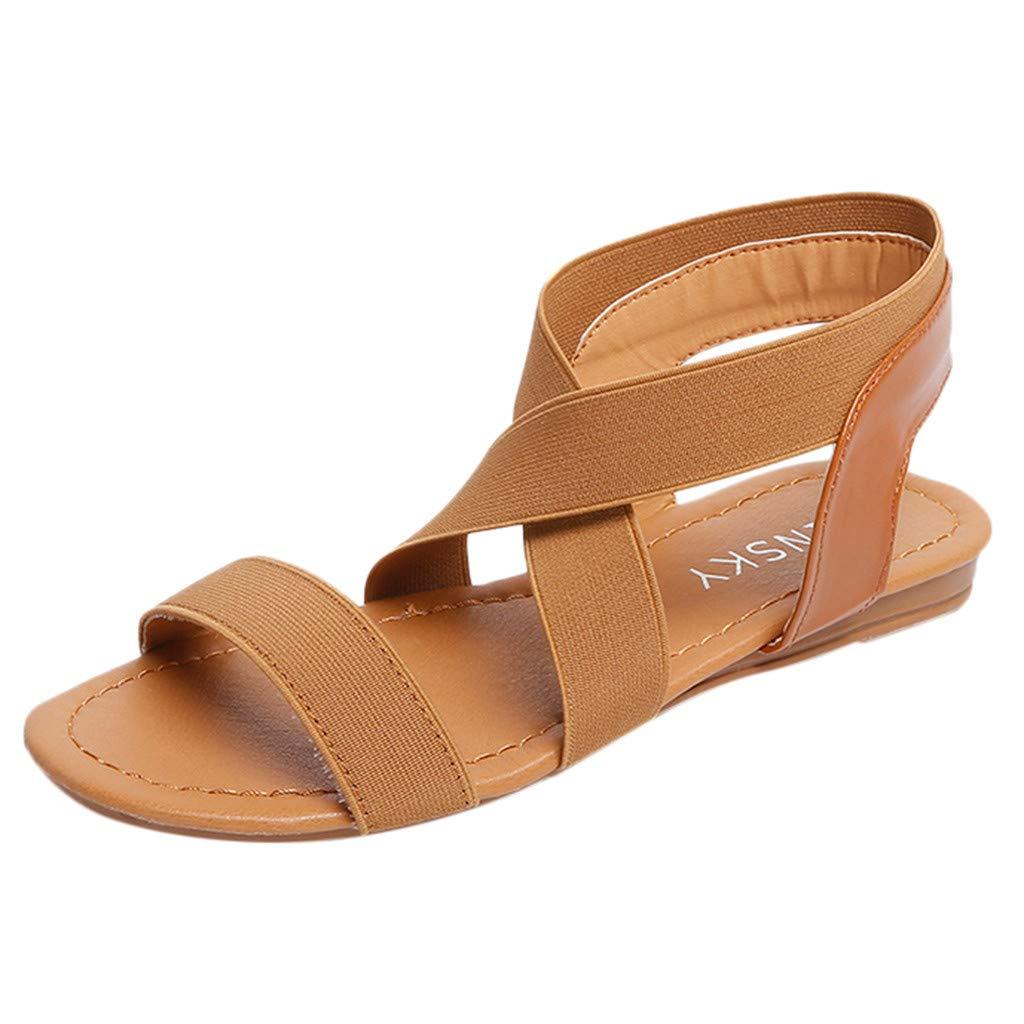 Clearance! Hot Sale! ❤ Women Low Heel Anti Skidding Beach Shoes Cross Strap Sandals Peep-Toe Sandals 2019 New Ladies Summer Sandals
