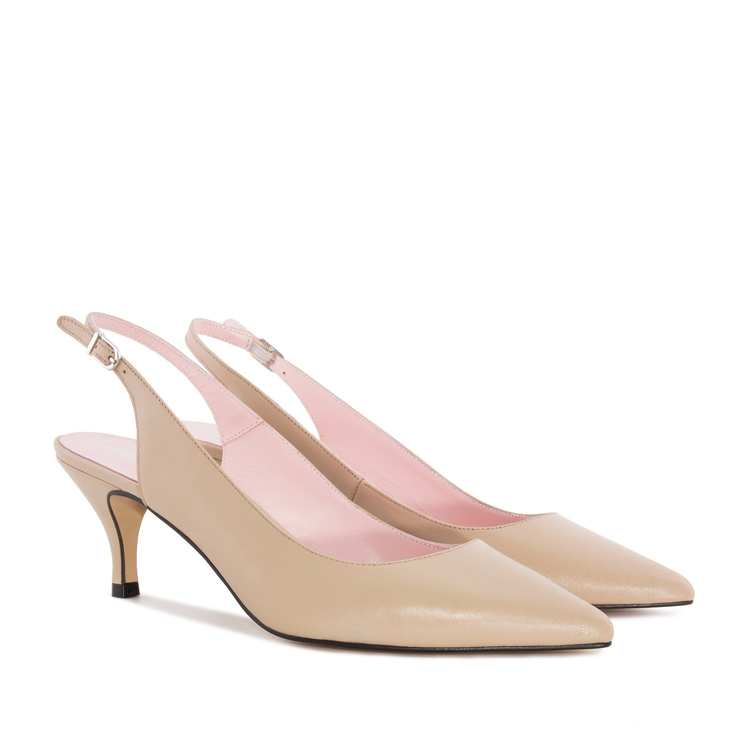 Andres Machado Fine Toe Slingback Shoes in Beige Leather, 43 M EU/11.5 B (M) US by Andres Machado (Image #1)