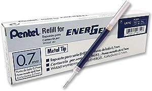 Pentel Refill Ink for BL57/BL77 EnerGel Liquid Gel Pen, 0.7mm, Metal Tip, Blue Ink, Box of 12 (LR7-C-12)