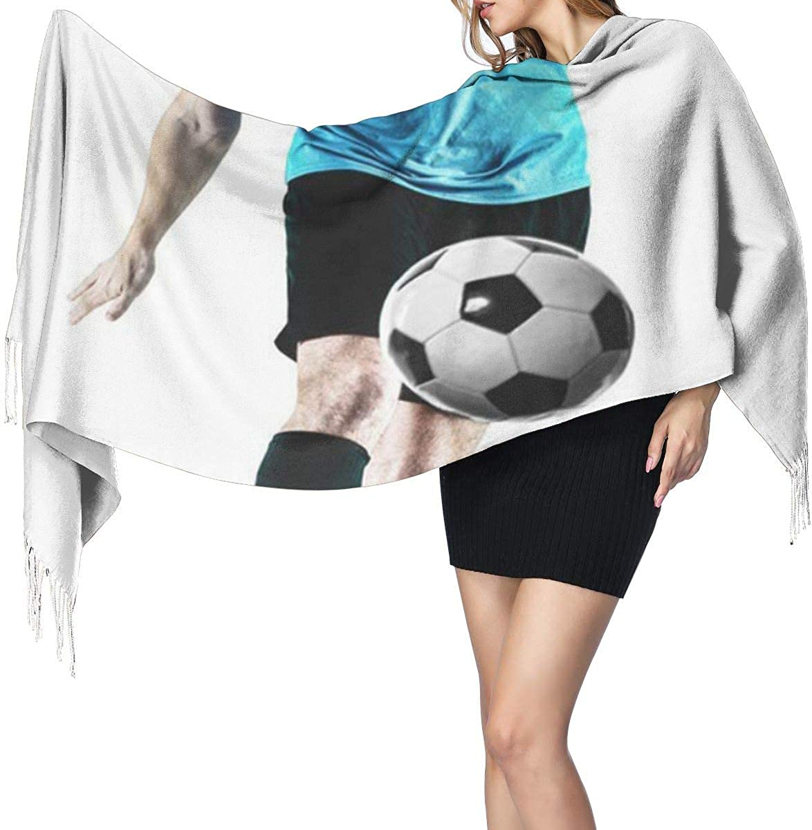 Fashion Lady Shawls,Comfortable Warm Winter Scarfs Full White Football Soccer Player Man Action Kicking Soft Cashmere Scarf For Women