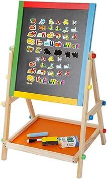L// XL Kids 2in1 Black// White Wooden Easel Chalk Drawing Board Learning Board Set
