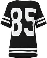 Genluna Women's Football Jersey T Shirt Top Loose Dress [B6619] , Black