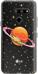 Toik Slim TPU Phone Case for LG Stylo 5 K50 K40 K11 Plus K10 K8 K4 Q60 Q9 X Junk Food Burger Kawaii Cute Lightweight Flexible Protective Clear Silicone Print Design Planet Gift Women Funny Girls Cover