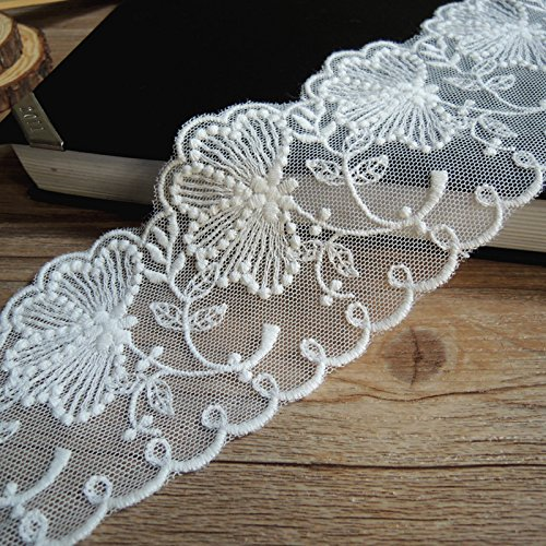 5/10/15Yards Vintage Embroidered Lace Edge Trim Ribbon Wedding Applique DIY Sewing Craft (A-5yards, White-3)